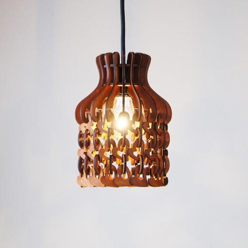「ハート」木製チェーンペンダントライト 照明 インテリア