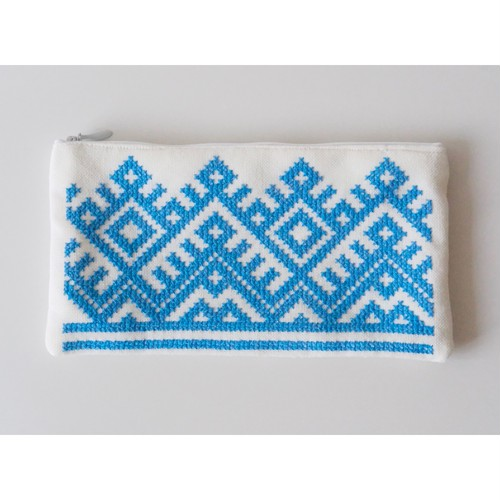ウクライナ刺繍ポーチ【青】