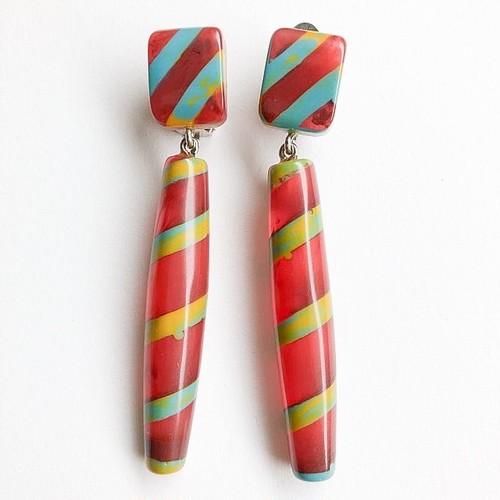 """Missoni"" stripe dangle earring[e-1010]"