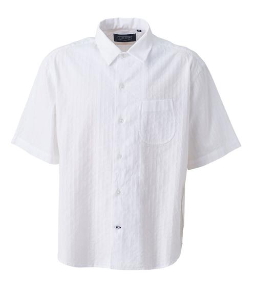 【HAND ROOM / ハンドルーム】8071-1602   綿 カラミストライプ Open Collar Shirt  #01 WHITE