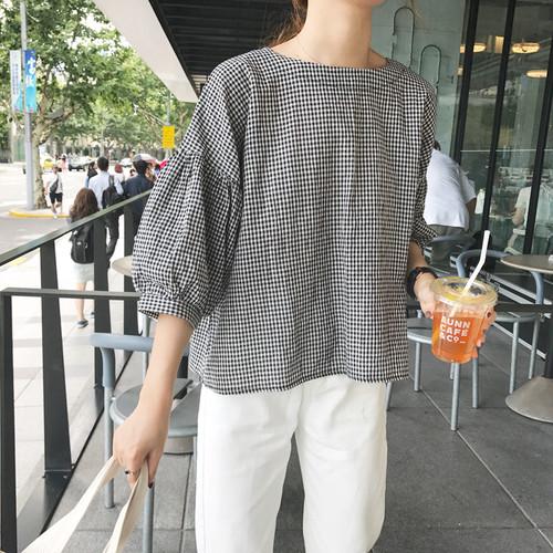 【即納♡】plaid lantern sleeve shirts 2466