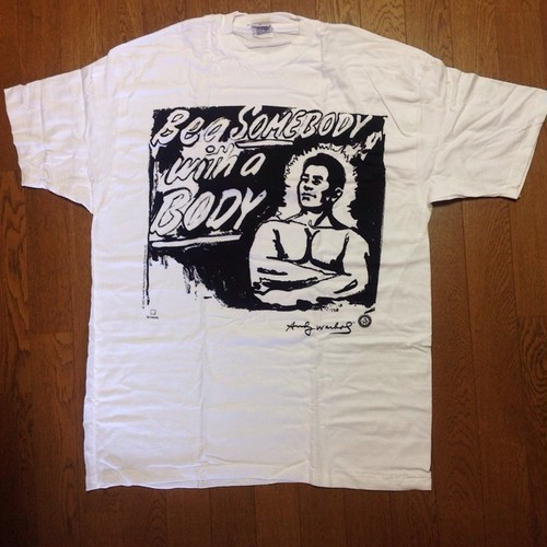 """Andy Warhol """"Be A Somebody with a Body"""" T-shirts 1993 Dead Stock"""
