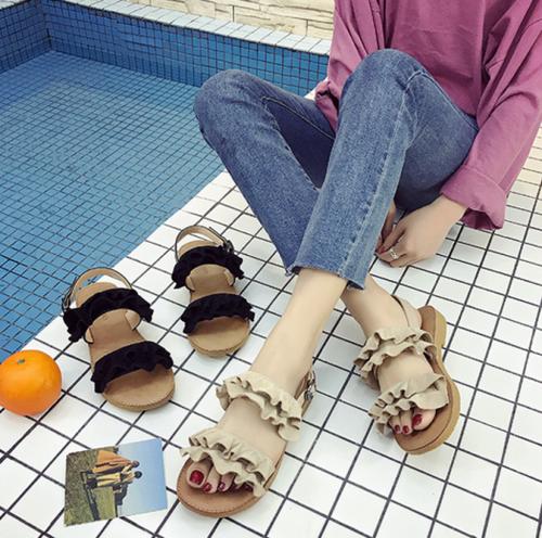 【送料無料】【2色】歩きやすい ダブルフリル ストラップ付 フラット サンダル カジュアル 夏
