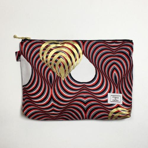 ポーチ アフリカンテキスタイル(日本縫製) 「ハート」ブラック ホワイト レッド ゴールド|アフリカ エスニック ガーナ布