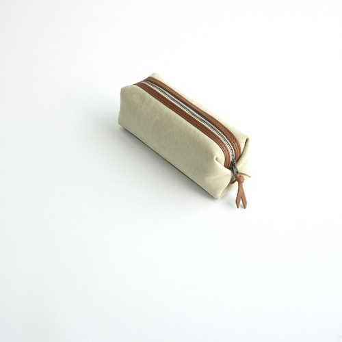CANVAS PEN CASE S / GRAY BEIGE