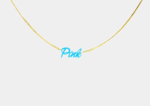 チグハグカラー ネックレス「Pink」
