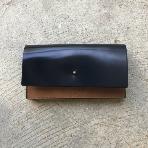 forme long wallet cordovan navy