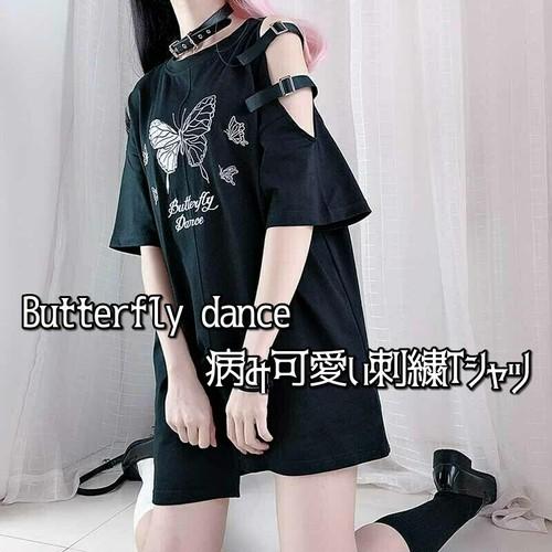 ゴスロリ系 Tシャツ オフショル バタフライ 刺繍 アシメデザイン 甘め かわいい オーバーサイズ オルチャン 原宿系 10代 20代