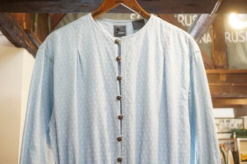 80's Liz jacquard chambray collarless Dress