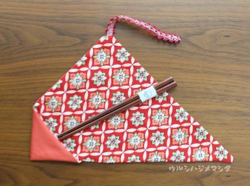 【セット販売】漆の箸+箸袋(桃色×着物・紅) / [SET SALE] CHOPSTICKS & REVERSIBLE CHOPSTICKS BAG(Pink * Kimono/Red)
