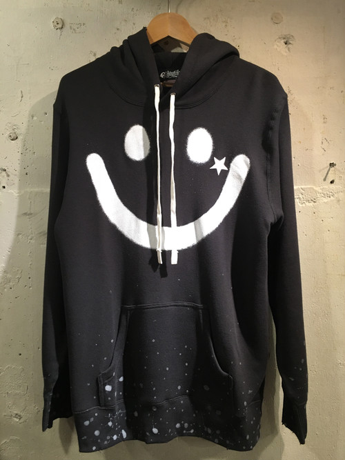 RAKUGAKI BIG SMILE PAINT & Damage Parka Carbon x White