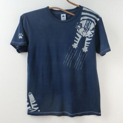 藍染めTシャツ バリバリキャット