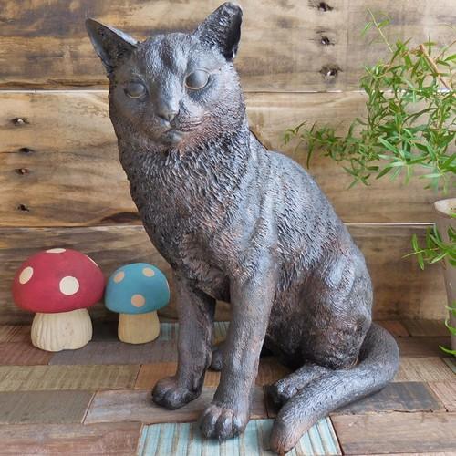 (193)【送料無料】ソリッドオブジェ ネコ  実物大? 黒猫の置物