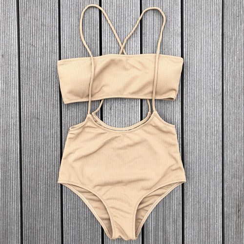 Bikini♡レイヤードバンドゥビキニ ベージュ