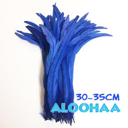 単色ロングフェザー 【青】#30-001BE30-CT 30~35cm タヒチアン 衣装 材料 ルースターテール 染め 羽根