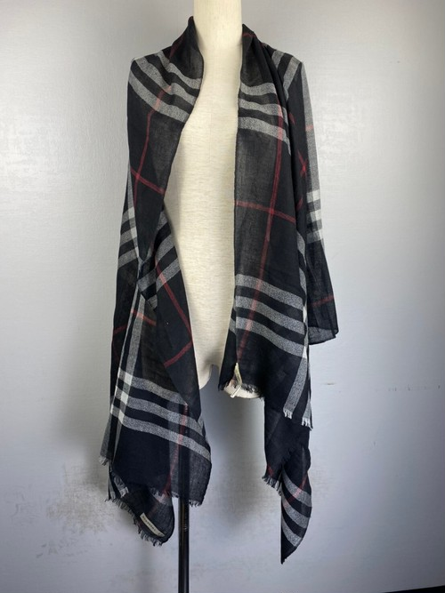 .BURBERRY CHECK PATTERNED LARGE SIZE CASHMERE100% SHAWL MADE IN SCOTLAND/バーバリーチェック柄カシミヤ100%大判ショール 2000000043180