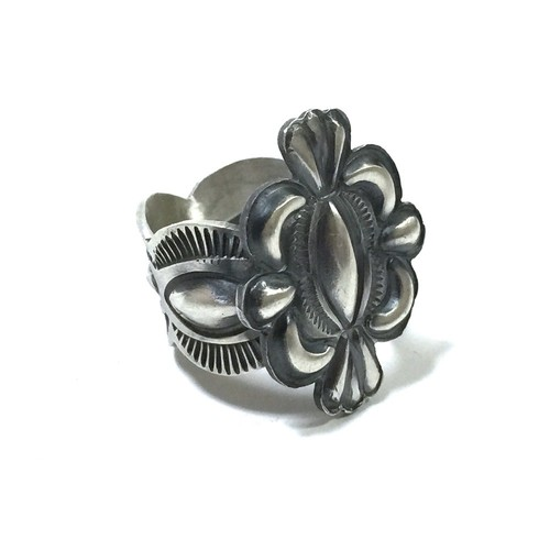 Navajo Sterling Silver Stamp Ring By Allen Lee
