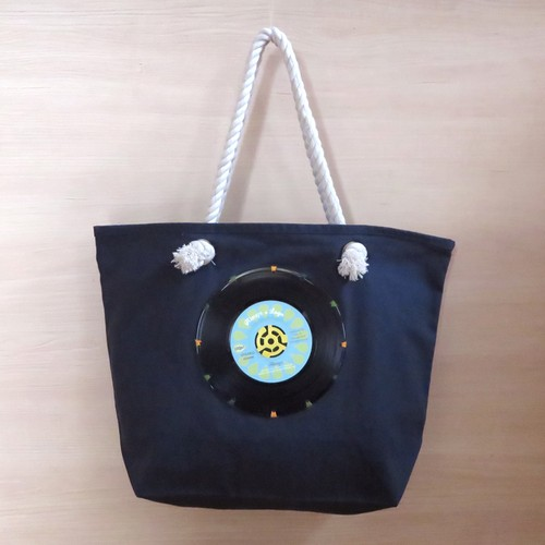 マリントートバッグ「bagu」本物のレコード ネイビー 大きめトートバッグ MT-101NBL