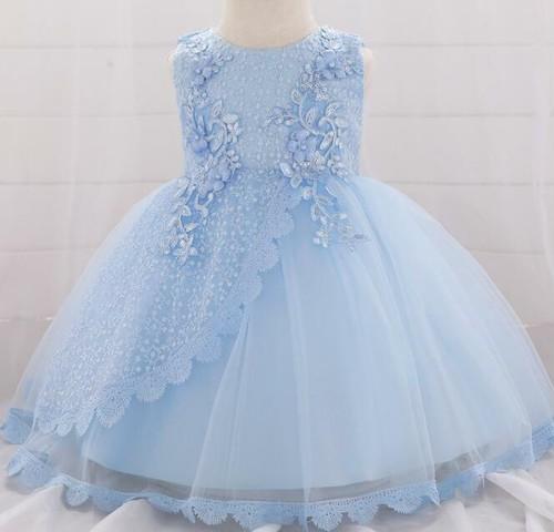 8458子供ドレス キッズ ベビー ジュニア 女の子ドレス フォーマルドレス パーティードレス 赤ちゃん 出産祝い お宮参り 新生児 ブルー60cm-90cm