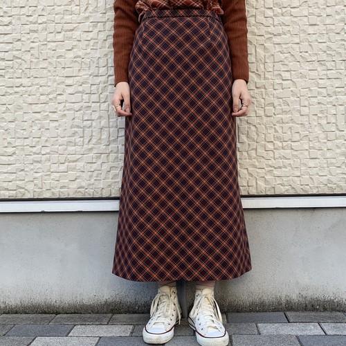 (LOOK) plaid tight long skirt