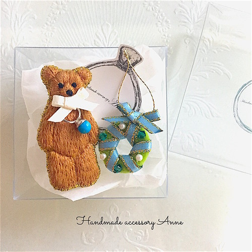 anniversary bear(saddlebrown)リボン