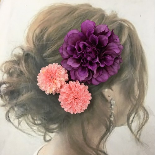パープルダリア  髪飾り  1