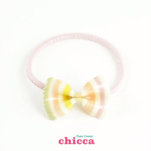 【ヘアアクセサリー】Stripe Ribbon Hair elastic