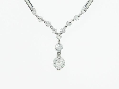 【0.90ct UP 】K18WG ダイヤモンドネックレス