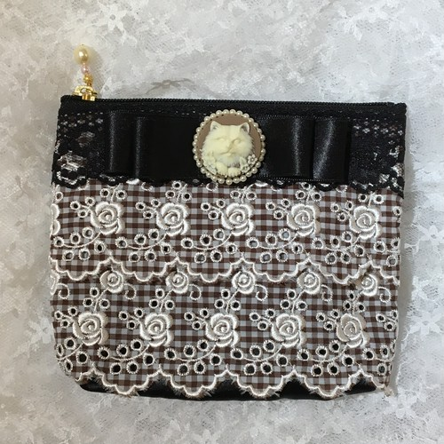 Cat Cameo Ginghamcheck Lace Tissue Pouch/GY