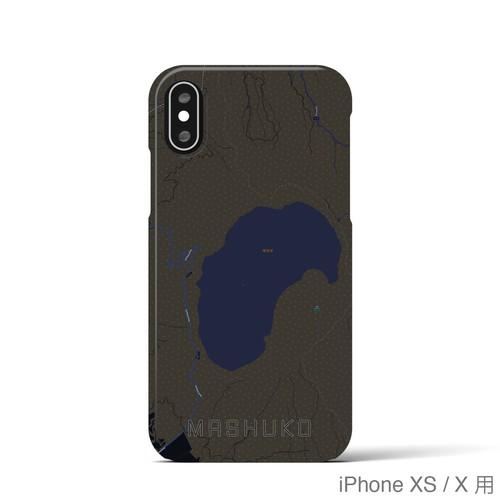 【摩周湖】地図柄iPhoneケース(バックカバータイプ・ブラック)