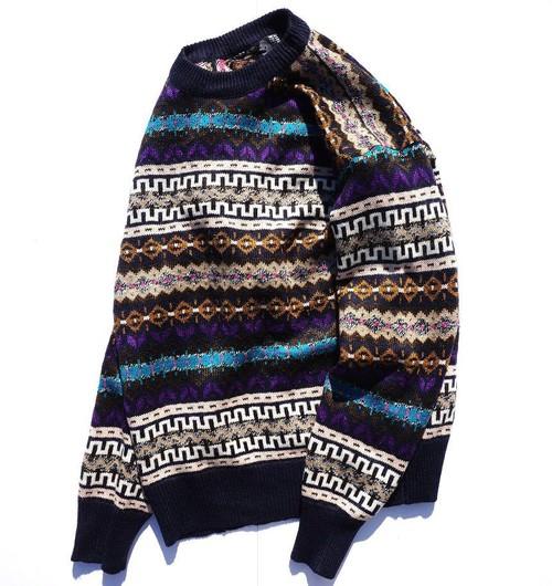 1990's 総柄クルーネックニットセーター 実寸(L位)