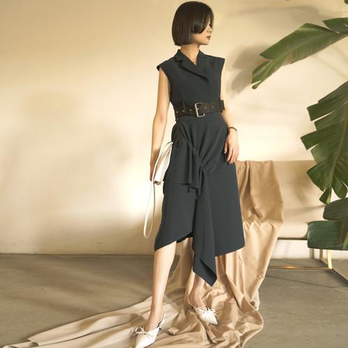 サマーベルト ショートノースリーブシャツ ドレス ソリッド カラー 半袖 ハーフスリーブ 夏物 ハーネス ソリッドカラー ILIAD6806975