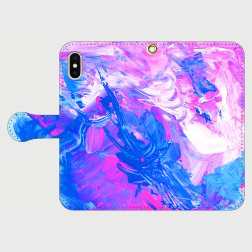 【iPhoneスマホケース手帳型】ryugucastle-acrylicpaint01(ピンクブルー)