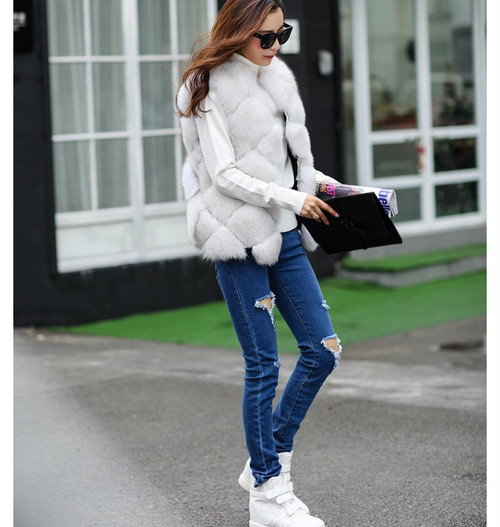 stitch design fur vest (white) (o_12)