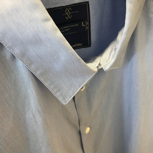 meanswhile Pinstripe Popper S.S. Shirt/BLUE