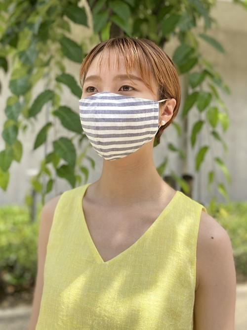 夏マスク (フィルターポケット付き) ボーダー