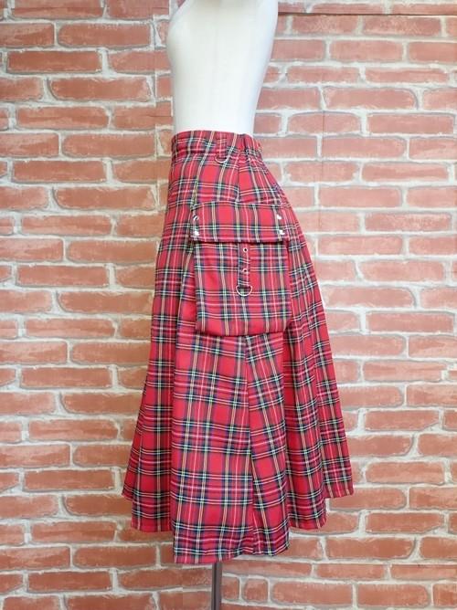 ポケット付き巻きスカート 赤チェック