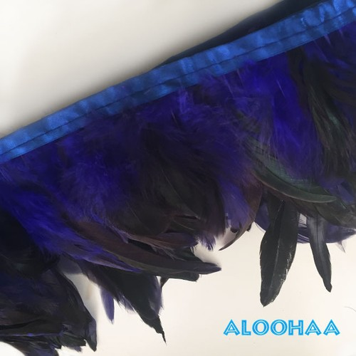 フェザーロール 【ブルー】 14~19cm丈 1m #30-001BE-CT  DIY 羽 タヒチアン 衣装材料 タヒチアン ポリネシアンフェザー