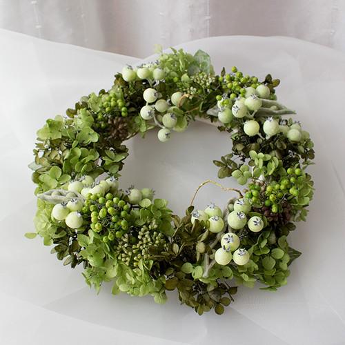 プリザーブドフラワー&アーティフィシャルフラワーリース   実物のグリーン Lサイズ