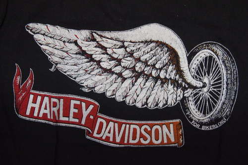 80's sportswear Real Flying WEEL Harley-Davidson T-Shirts(黒)