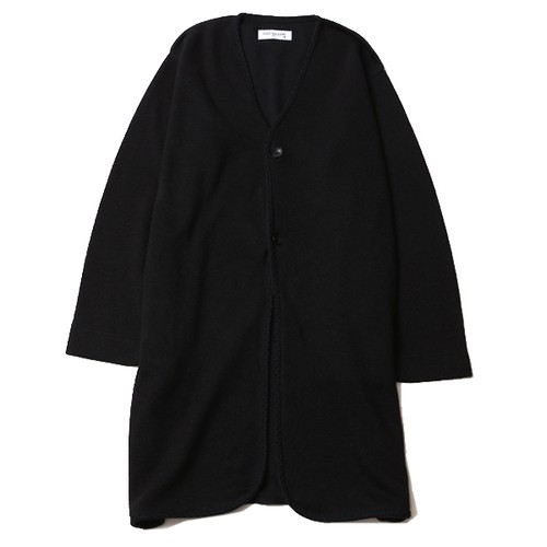 KNIT NO COLLAR ROBE (BLACK/BLACK) / RUDE GALLERY