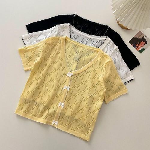 3色/透かし編みダイア柄リボントップス ・16932