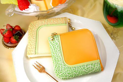 カットメロンなL字ファスナーコンパクト財布(牛革製)