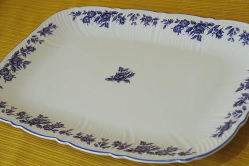 薔薇!バラ!ばら! mino china ブルーローズ パーティプレート 大皿 デザート皿 陶器 お皿 昭和レトロ 古道具