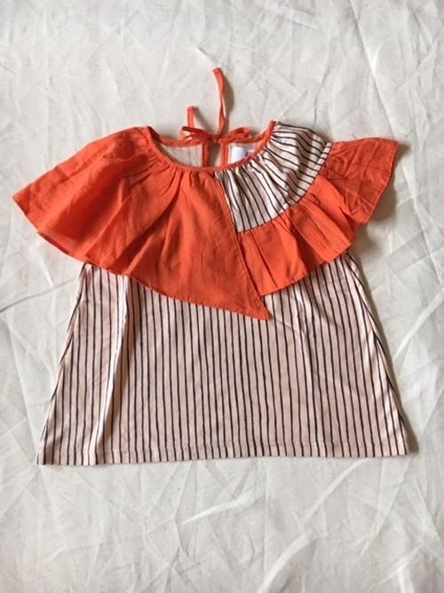 flare stripe blouse Lサイズ ピーチネイビー×オレンジ