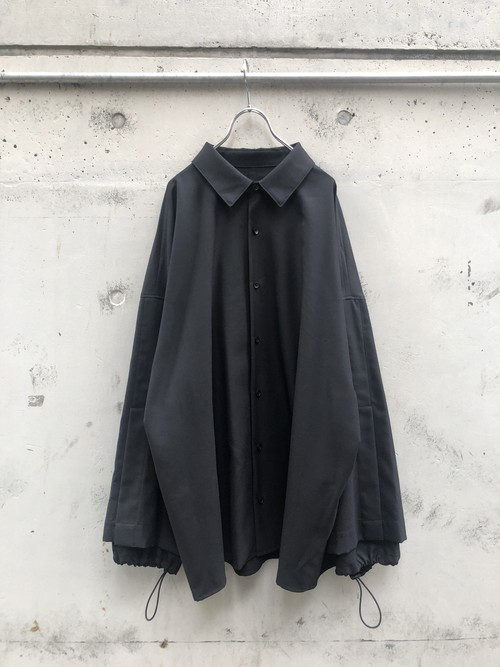 『my beautiful landlet』twill wool double arm shirt / BLACK