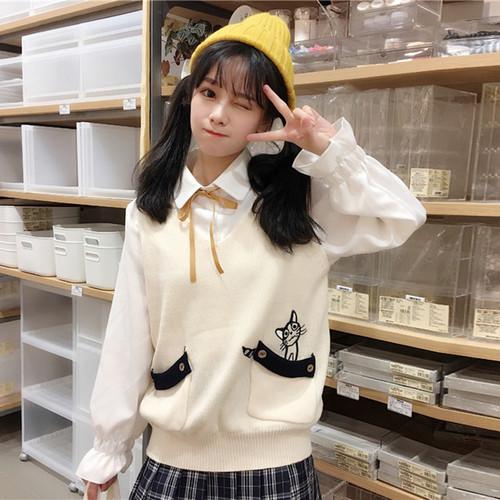 【トップス】韓国系レトロスウィート刺繍動物柄ニットベスト