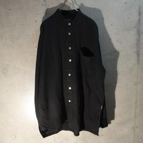 Cotton linen band collar shirt