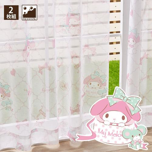 マイメロディ レースカーテン (幅100×133cm丈)【送料無料】