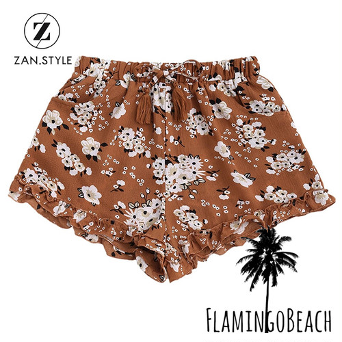 【FlamingoBeach】flower brown short pants ショートパンツ